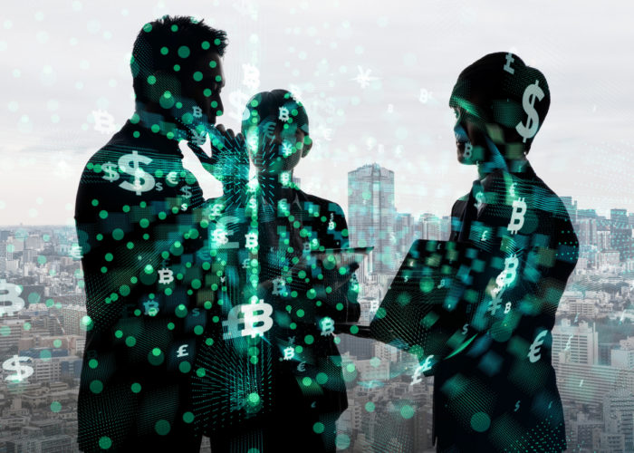 Silhouette of group of businesspeople and financial technology concept.